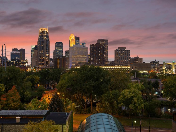City Skyline at Sunset at The M on Hennepin in Minneapolis, MN