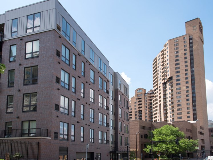 Five Story Building Property Exterior of at The M On Hennepin Apartments in Minneapolis, MN