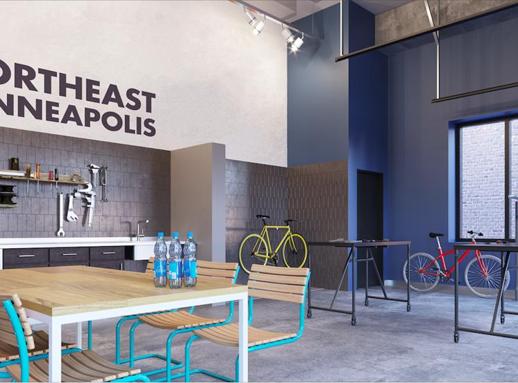 Bike Repair and Hobby Shop at Mezzo Apartments in Northeast Minneapolis
