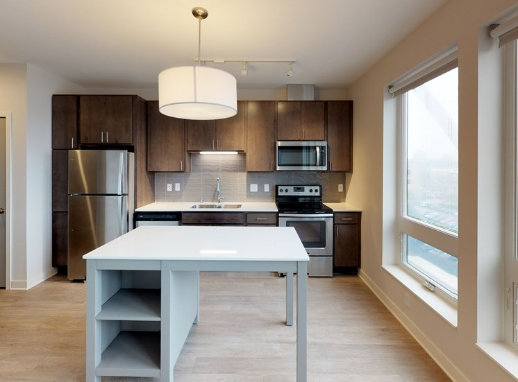 Model Kitchen with Slate Cabinets in Hue Alcove at Mezzo Apartments in Minneapolis