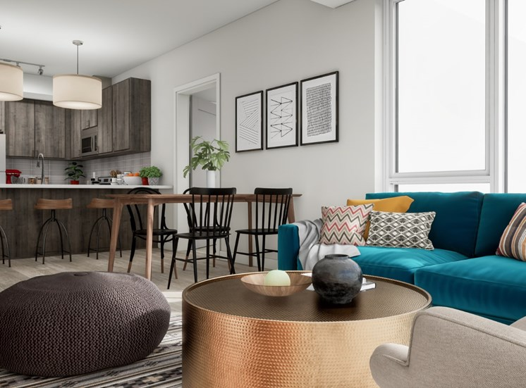 Modern Living Room at Mezzo Apartments in Northeast Minneapolis, MN