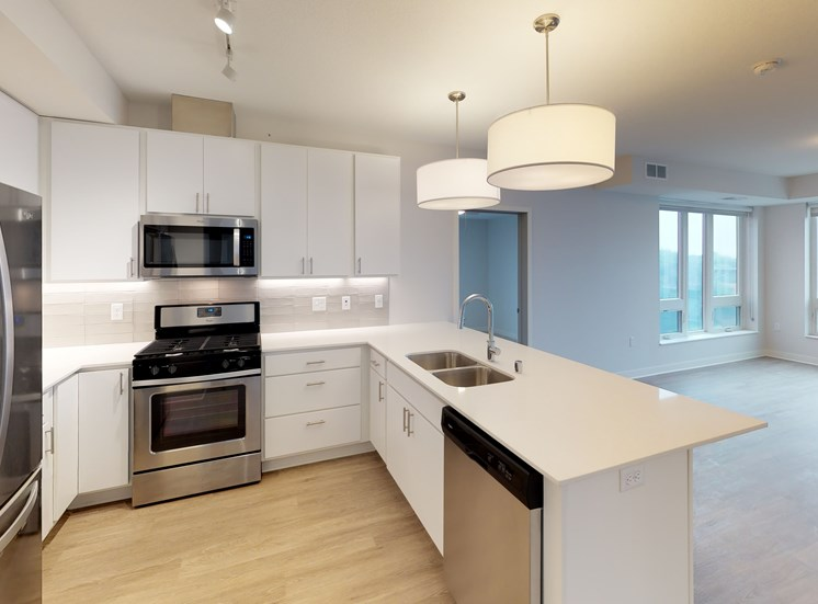 Model Kitchen in Chroma 2-Bedroom at Mezzo Apartments in Minneapolis