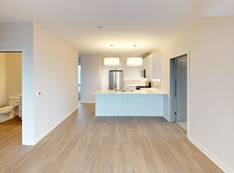 Model Living Space in Chroma 2-Bedroom at Mezzo Apartments NE Minneapolis