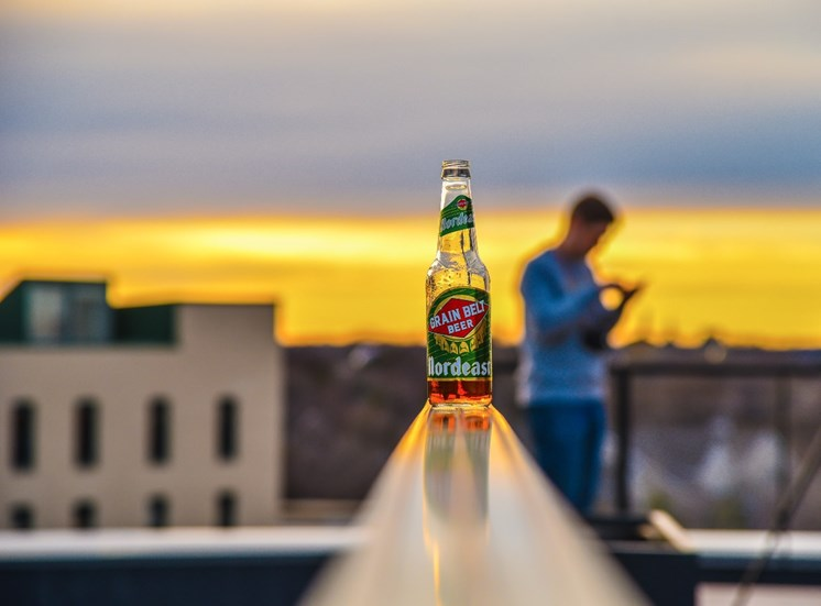 Premium Grain Belt Beer on Rooftop at Mezzo Apartments