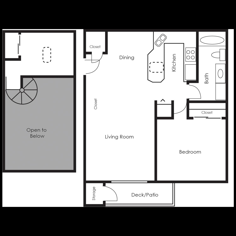One Bedroom Loft Floor Plan 2