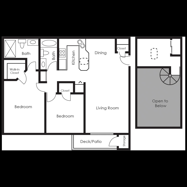 Two bedroom loft floor plan 4