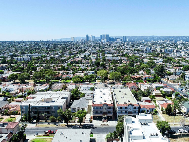 Over head view of community by drone showing wide angle of Los Angeles.