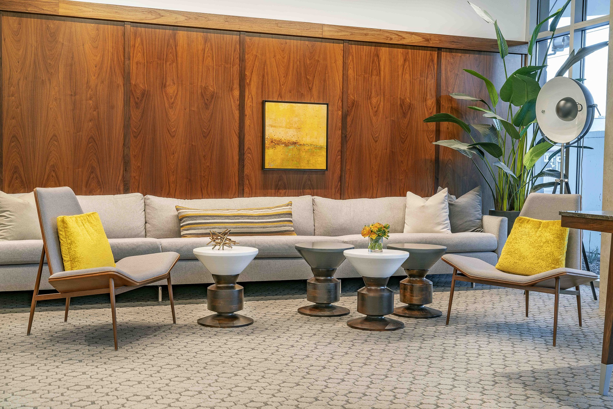 The Stewart lobby with couches