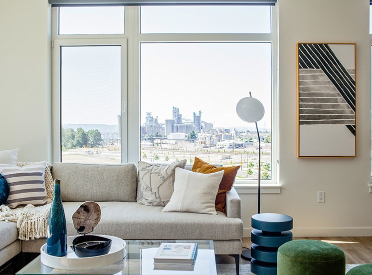 RiverWest Vancouver, Washington Living Room and Skyline View