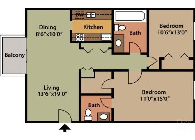 Two Bedroom One and One Half Bath Apartments