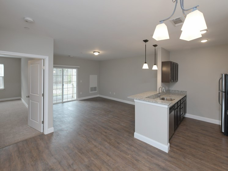 Luxury Wood Flooring in Living and Kitchen Areas at Webster Village, Hanover, MA