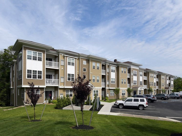 Exterior shot of apartment building complex at Webster Village, Hanover, MA