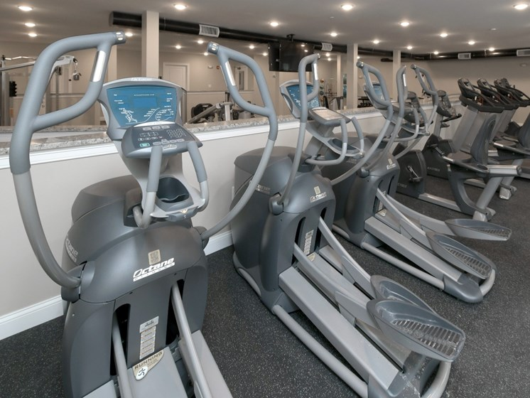 Cardio machines inside fitness center at Webster Village, Hanover, MA
