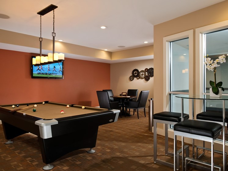 Billiards and entertainment space at Alexander at Patroon Creek, Albany, NY