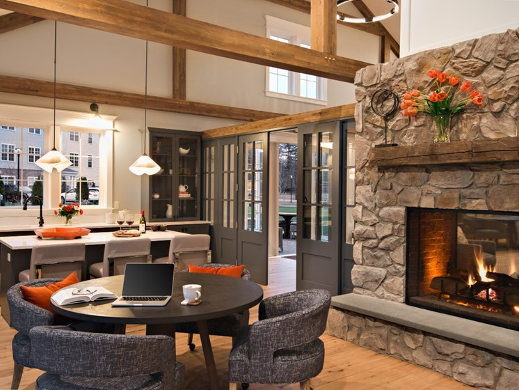 Luxurious Elite Clubhouse with Fire Place and Lounge Areas at East Main Apartments in Norton, MA