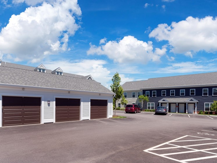 Large detached garages with storage available at East Main Apartments, Norton, MA, 02766
