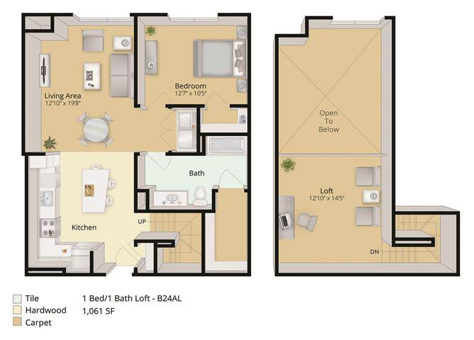1 BED, 1 BATH LOFT Floor Plan 2