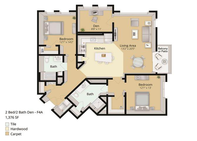 2 BED, 2 BATH DEN Floor Plan 5