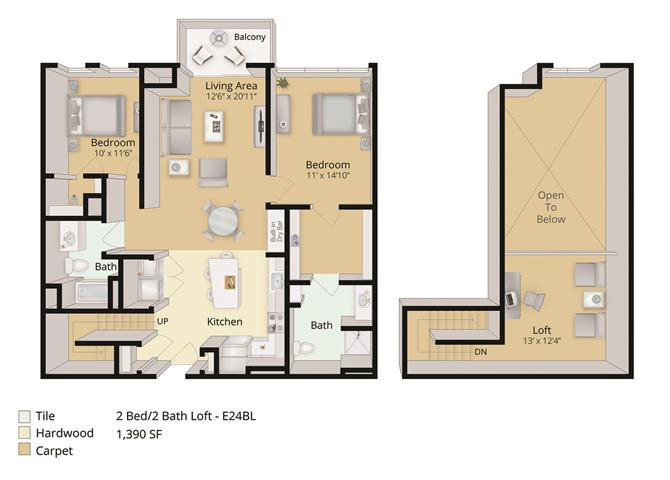 2 BED, 2 BATH LOFT Floor Plan 4