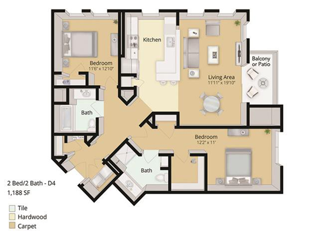 2 BED, 2 BATH Floor Plan 3