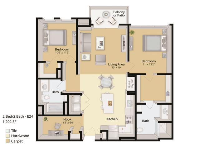 2 BED, 2 BATH Floor Plan 8