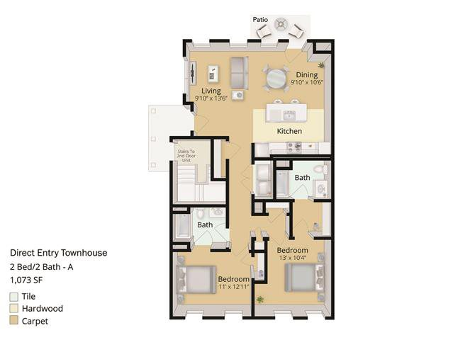 2 BED, 2 BATH TOWNHOUSE Floor Plan 9