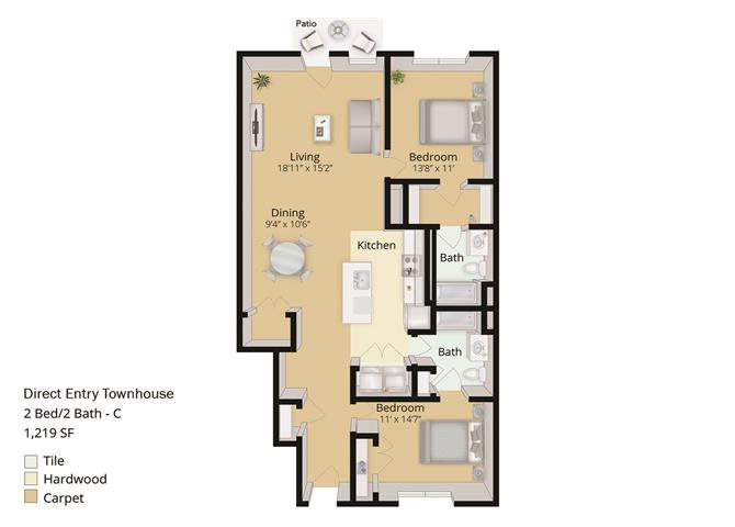 2 BED, 2 BATH TOWNHOUSE Floor Plan 10