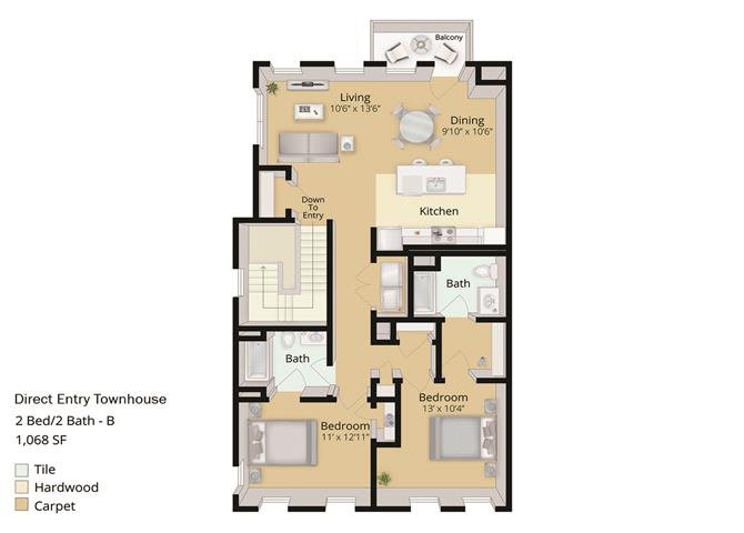 2 BED, 2 BATH TOWNHOUSE Floor Plan 6