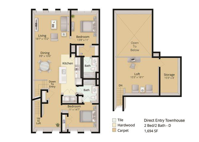 2 BED- BATH TOWNHOUSE WITH LOFT Floor Plan 7