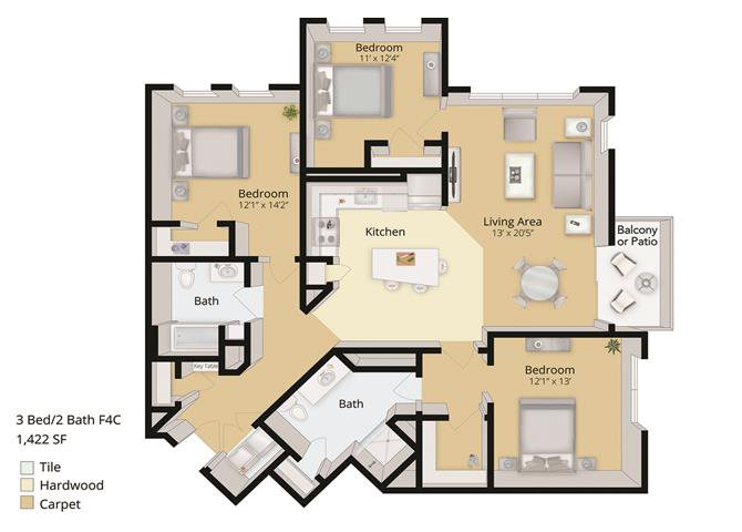 3 BED, 2 BATH Floor Plan 11