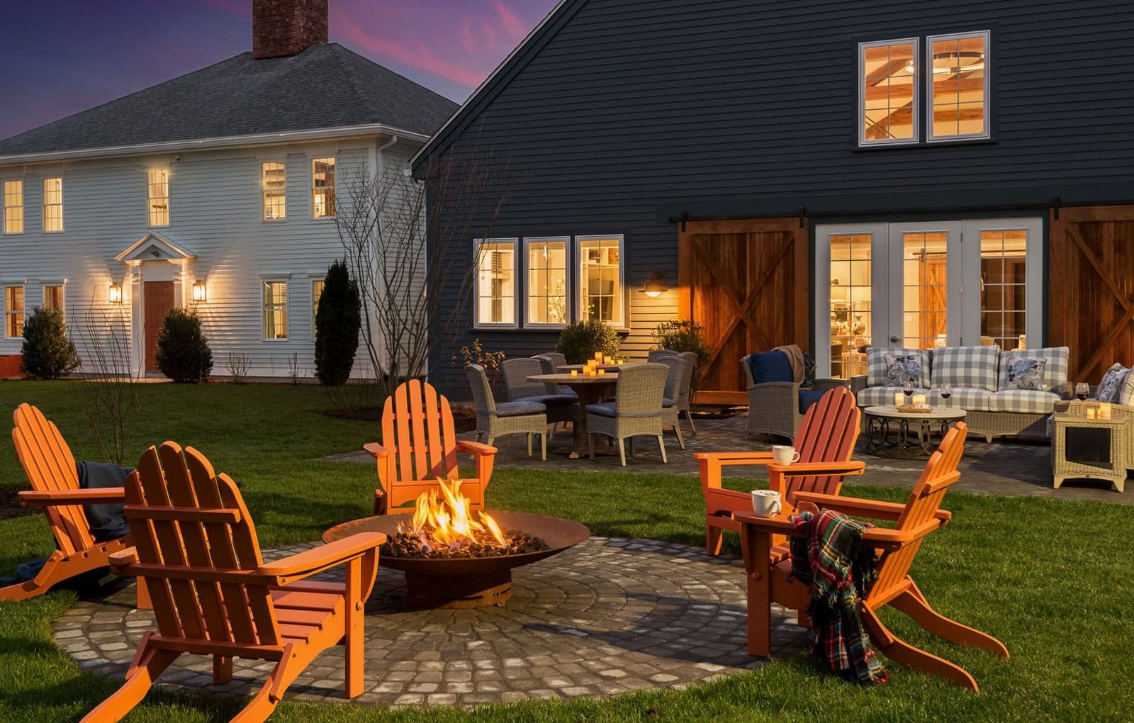 Outdoor lounge and fire pit at East Main, Massachusetts