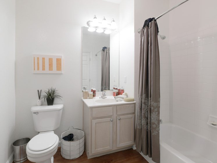 Upgraded Bathroom with Wood Flooring and Tub at Cumberland Crossing, Rhode Island, 02864