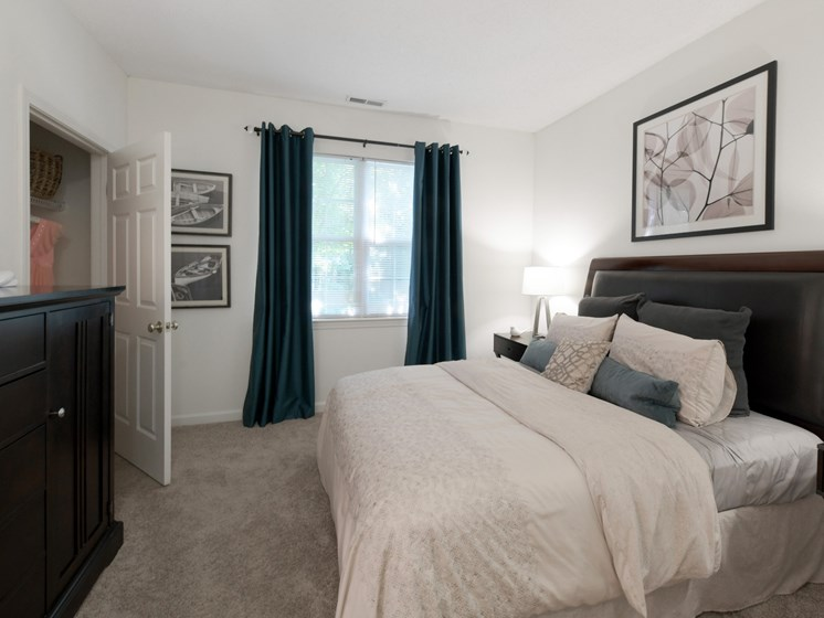 Master bedroom with carpeting and walk-in closet at Cumberland Crossing, Cumberland, 02864