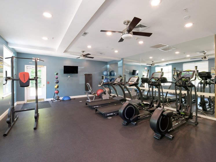 Fitness Center with Cardio Machines and Free Weights at Cumberland Crossing, Cumberland, RI
