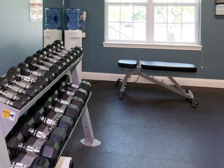 Free Weights Inside Fitness Center at Cumberland Crossing, Cumberland, RI