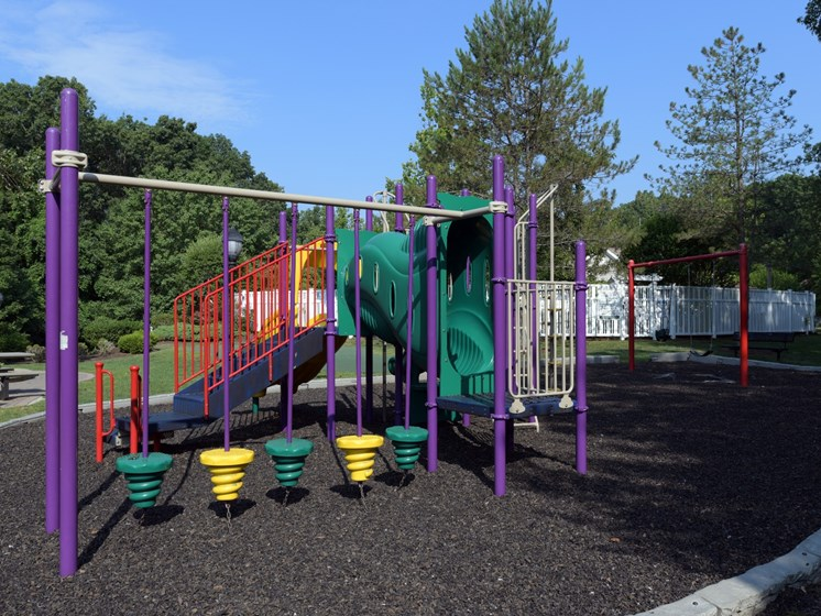 Playground with Slide and Swing Set at Cumberland Crossing, Rhode Island