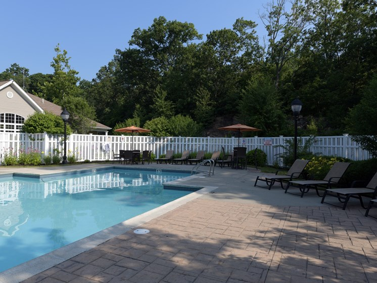 Sundeck next to large swimming pool at Cumberland Crossing, Cumberland