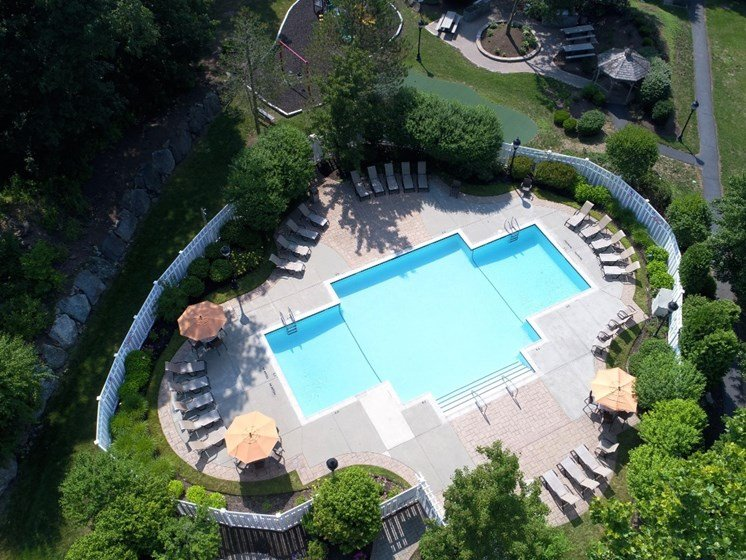 Aerial view of large swimming pool and sundeck at Cumberland Crossing, Cumberland, RI, 02864
