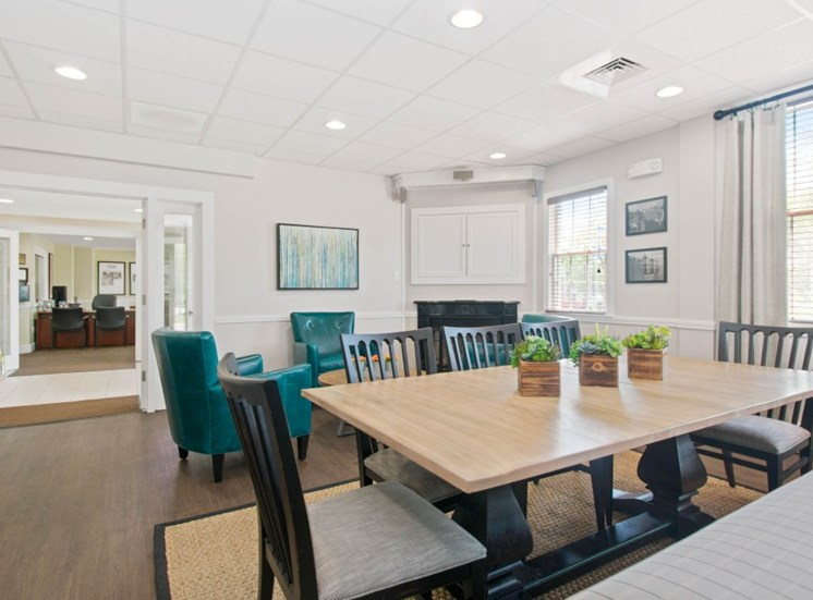 Modern Clubhouse with Multiple Seating Areas at Redbank Village, South Portland, Maine