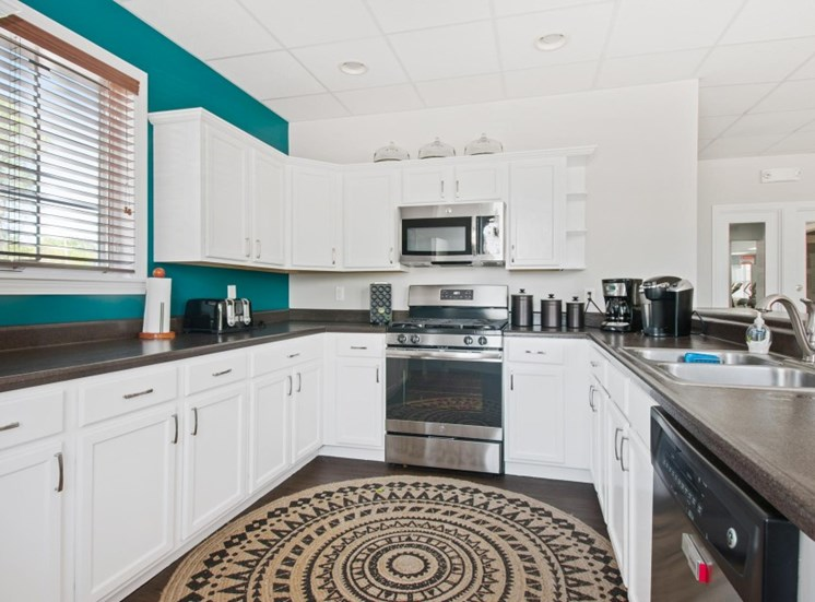 Fully-equipped kitchen clubhouse at Redbank Village, South Portland, ME
