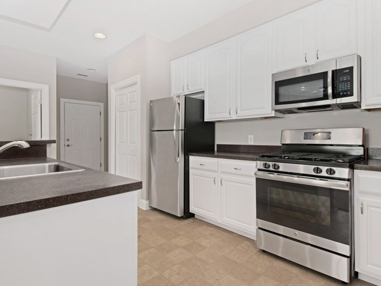 Upgraded fully-equipped kitchens with stainless steel appliances at Liberty Commons, South Portland, ME, 04106