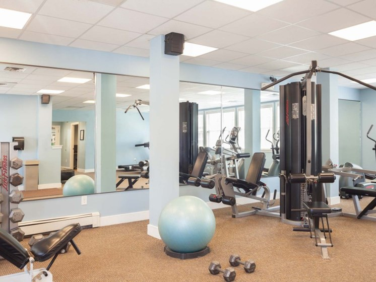 Fully Equipped Fitness Center with Machines and Free Weights at Liberty Commons, South Portland, ME