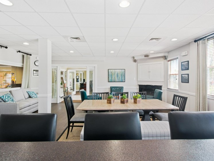 Modern clubhouse lounge areas at Liberty Commons, South Portland, Maine
