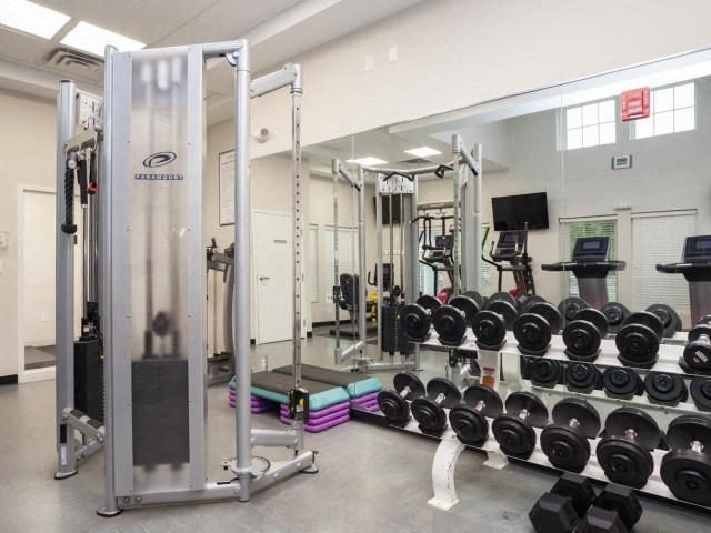 Free Weights in Fitness Center at Union Place, Massachusetts