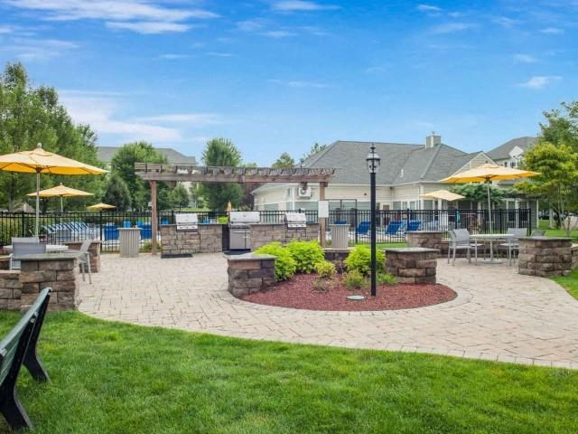 Outdoor picnic and grilling areas at Union Place, Franklin, MA, 02038