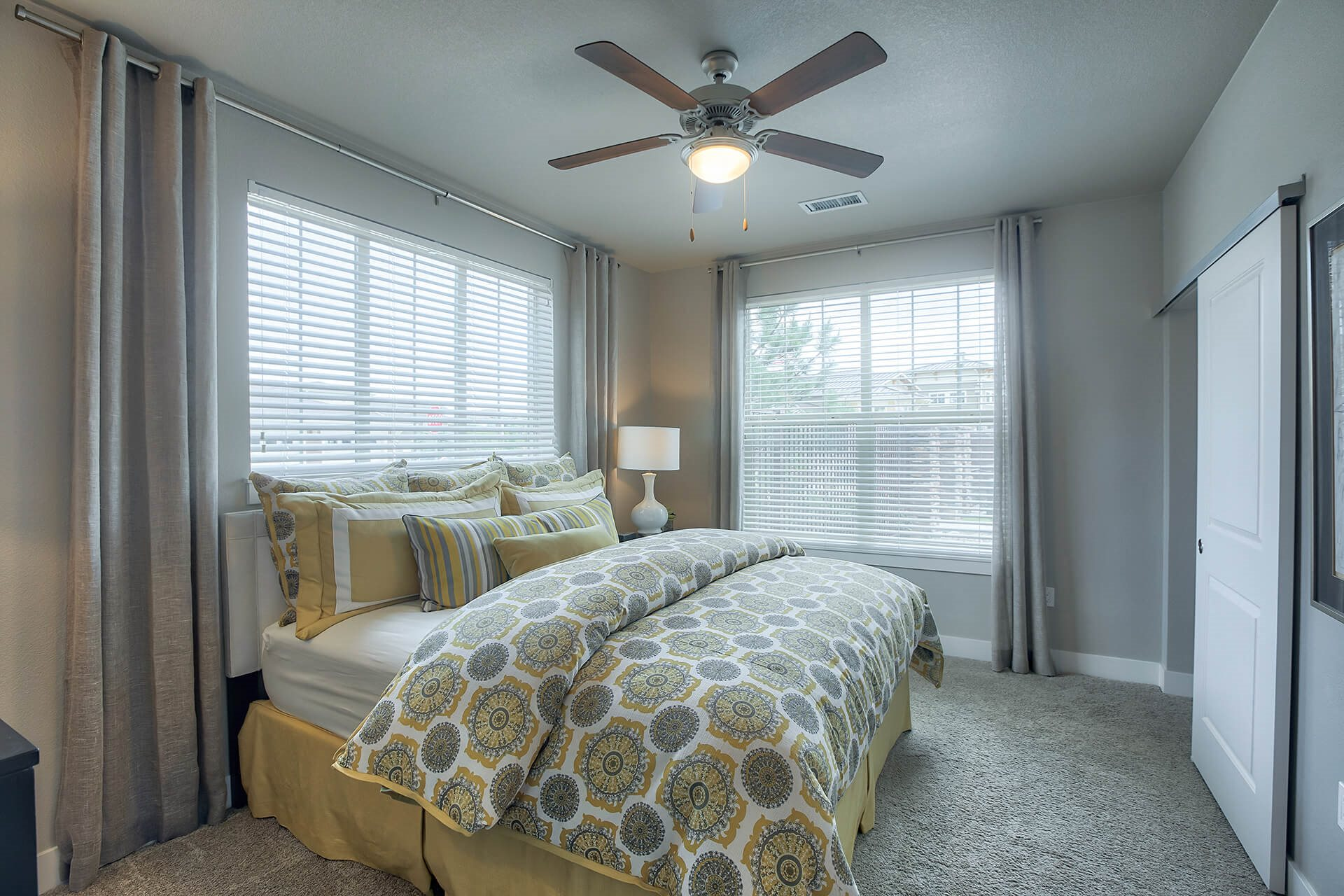 Wood Ceiling Fans in Bedrooms at Retreat at the Flatirons, Broomfield, 80020