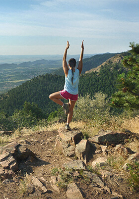 yoga pose mount falcon morrison colorado rocky mountains Photo