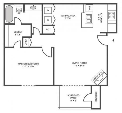 1 BEDROOM/1 BATHROOM Floor Plan 1