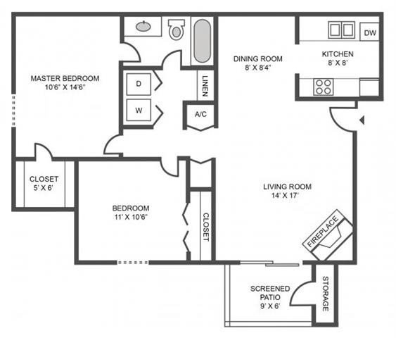2 BEDROOMS/1 BATHROOM Floor Plan 2