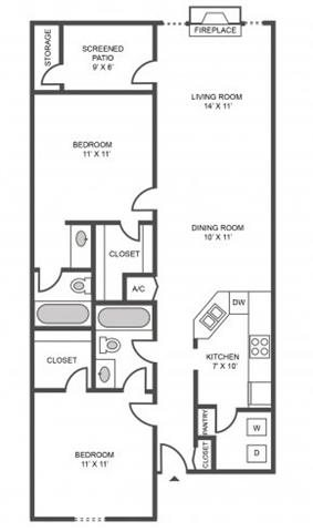 2 BEDROOMS/2 BATHROOMS Floor Plan 3